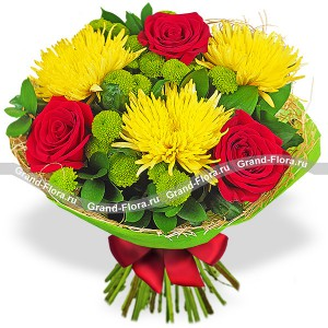 Noble shine - a bouquet of red roses and chrysanthemums