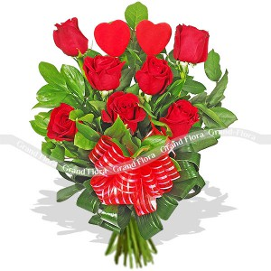 Bouquet of 19 red roses - From the heart
